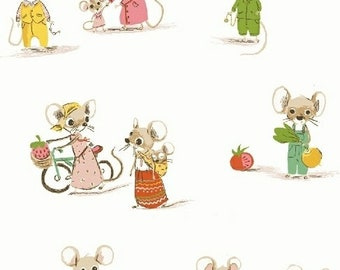 OOP Trixie by Heather Ross Windham Fabrics - 50897-4 - Country Mouse City Mouse - White - Cotton Quilt Fabric - FQ BTHY Yard 921