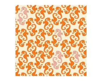 Heather Ross 20th Anniversary Reprint Windham Fabrics - Cream Orange Sea Horses Mendocino - 40914A-15 - Cotton Quilt Fabric FQ BTHY Yard