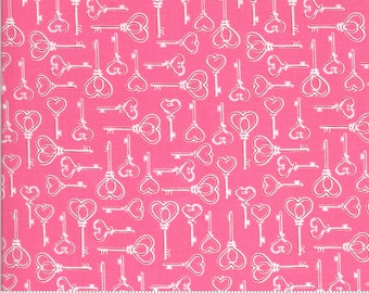 Be Mine by Stacy Iest Hsu for Moda - Key to My Heart - Sweetheart - Pink - 20714 13 - 100% Cotton Quilt Fabric - Choose your Size K