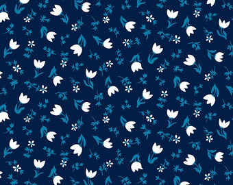 SALE Smol by Kimberly Kight of Ruby Star Society for Moda - Tulip Calico - Navy - RS3017 14 - Select a Size - Cotton Quilt Fabric K