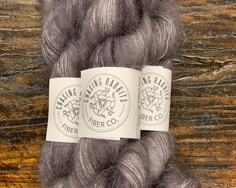 Silver Grey Gratitude Gossamer Lace Mohair Silk Yarn by Chasing Rabbits Fiber Co. - Skein of Hand-Dyed Lace Weight Yarn