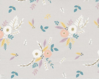 Floral Bouquet - Little Ducklings by Paper And Cloth for Moda Fabrics - Warm Grey 25101 14 - BTHY Yard - Cotton Quilt Fabric