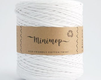 Minimop - White 80/20 Recycled Cotton & Polyester Twisted Cord Twine Yarn by Lankava