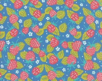 SALE Growing Beautiful by Crystal Manning for Moda - Strawberries - Light Blue - Cotton Quilt Fabric - Choose your Size