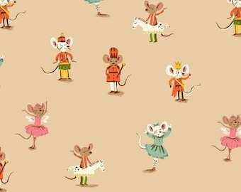 Sugarplum by Heather Ross Windham Fabrics - Nutcracker Mice - Sweet Dreams - Peach - 50166-3 - Fat Quarter - FQ - Cotton Quilt Fabric 921