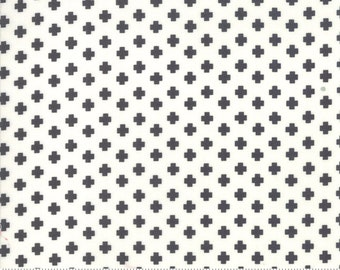 The Christmas Card by Sweetwater for Moda - Black  Crosses on White - Select a Size - Cotton Quilt Fabric