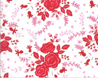 Be Mine by Stacy Iest Hsu for Moda - Roses For My Love - Dove White - 20711 11 - 100% Cotton Quilt Fabric - Choose your Size K
