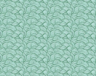 SALE Floral Waterfall by Shannon Newlin for Free Spirit - Tiny Wave - Turquoise - 1/2 yard Cotton Quilt fabric 921