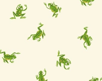 OOP Kinder by Heather Ross for Windham Fabrics - Frogs - 43484-3 White - FQ BTHY Yard Cotton Quilt Fabric 921