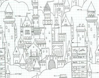 Magic by Sarah Jane for Michael Miller - Castle Plans - White - DC 7196 - Fat Quarter - FQ - Cotton Quilt Fabric 921