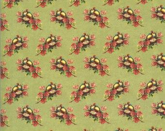 SALE Flea Market Mix by Cathe Holden for Moda - Nesting Birds - Pistachio - Light Green - BTHY Yard - Cotton Quilt Fabric