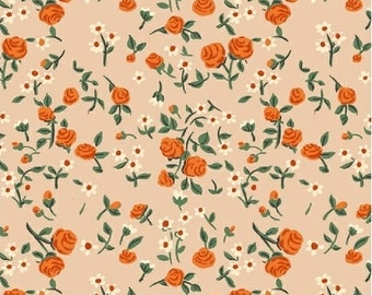 OOP Trixie by Heather Ross Windham Fabrics - 50898-7 - Mousies Floral - Peach - Cotton Quilt Fabric - FQ BTHY Yard 921