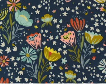 Songbook by Fancy That Design House  - Midnight Blue Floral - 45522 15 - Cotton Quilt Fabric - Fat Quarter fq BTHY By the half yard