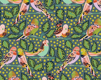 Earth Made Paradise by Kathy Doughty Free Spirit Fabrics - Budgie Babies MO048.SLATE - Cotton Quilt Fabric - Fat Quarter FQ BTHY Yard