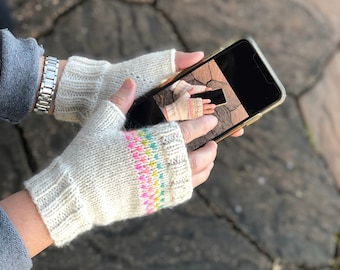 Heart Connection by Big Bad Wool - knit fingerless mitts kit bundle