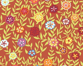 Kaffe Fassett Collective - Busy Lizzy - Floral Orange Red - PWGP-175 - FQ Fat Quarter BTHY Yard cotton quilt fabric 1021