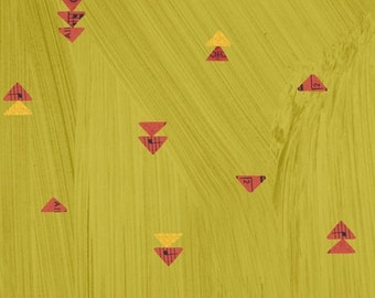 Wish by Carrie Bloomston Windham Fabrics - Floating Triangles - Olive Oil - Yellow - 51744M-5 - Select a Size - Cotton Quilt Fabric 8-21