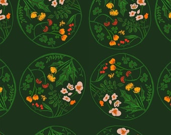 OOP Tiger Lily by Heather Ross for Windham Fabrics - Floral Medallion - 40928-2 Green - FQ BTHY Yard Cotton Quilt Fabric 921
