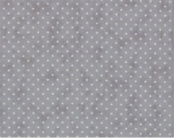 Essential Dots Essential Yours by Moda Basics - Silver - White Dots - BTHY 1/2 Yard Cotton Quilt Fabric - 8654 121