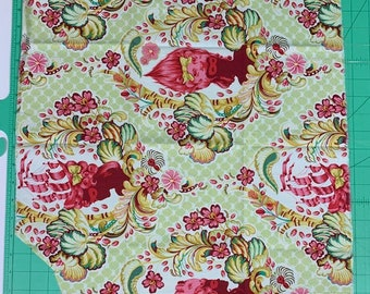 OOP Rare - Tula Pink Parisville Cameo Sprout - cotton quilt fabric - Fat Quarter FQ with small cut-out