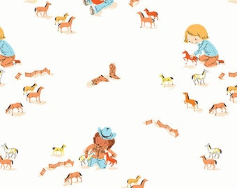 Pre-Order - Far Far Away 3 by Heather Ross for Windham - Play Horses - Ivory - 52753-7 - Select a Size - Cotton Quilt Fabric
