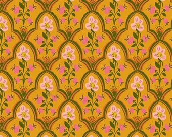 Malibu by Heather Ross for Windham - Wood Block - Olive - 52151-20 - Cotton Quilt Fabric - FQ BTHY Yard 921