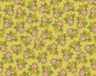 SALE Bubbies Buttons and Blooms by Kori Turner Goodhart - Petite Bouquet - Dijon - 52086-7 - FQ Half Yard - Cotton Quilt Fabric K