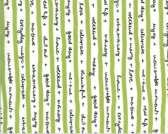 SALE Quotation by Zen Chic - Text Stripe Tape Pistachio 1732 14 Select a Size - FQ, half or full yard- Moda Cotton Quilt Fabric K