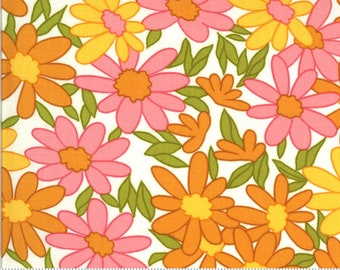 SALE Blooming Bunch by Maureen McCormick - Big Brady Flower - Cloud 40040 11 Select a Size- FQ - half or full yard- Moda Cotton Quilt Fabric