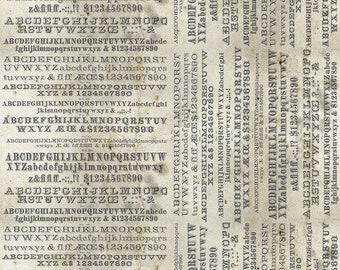 Monocrome by Tim Holtz Eclectic Elements for Free Spirit - Typography - Parchment - PWTH175.PARCHMENT - Select a Size - Cotton Quilt Fabric