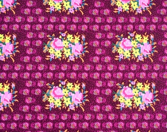 Hindsight by Anna Maria Horner for Free Spirit Fabrics - Stitched Bouquet - Eggplant - FQ BTHY Yard - Cotton Quilt Fabric 9-21