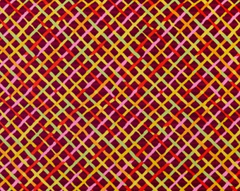 Kaffe Fassett Collective - Brandon Mably - Mad Plaid - Maroon - PWBM037 - FQ Fat Quarter BTHY Yard -100% Cotton Quilt Fabric 1021