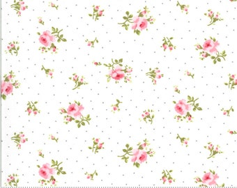 Sophie by Brenda Riddle Acorn Quilts for Moda - Medium Floral - Linen/White - 18711 11 - 100% Cotton Quilt Fabric - Choose your Size