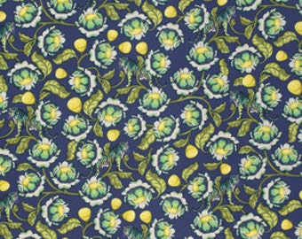 Eden by Tula Pink for Free Spirit - Lotus - Midnight - 1/2 Yard Cotton Quilt Fabric 8-21