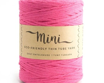 Mini Tube - Hot Pink  80/20 Recycled Cotton & Polyester Twisted Cord Tube Yarn by Lankava