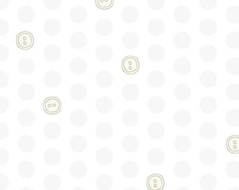 Bubbies Buttons and Blooms by Kori Turner Goodhart - Polka Dot Buttons - White on White - 52087-9 -  FQ Half Yard - Cotton Quilt Fabric K