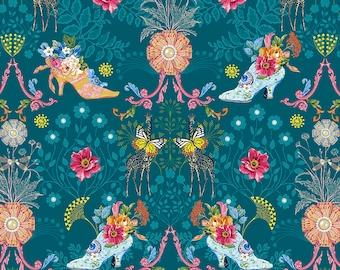 Jardin de la Reine Odile Bailloeul - Royal Expedition - Teal  Select a Size- FQ- half yard- full yard- FreeSpirit Cotton Quilt Fabric
