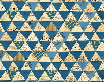 Wish by Carrie Bloomston for Windham Fabrics - Collaged Triangles - Peacock - Blue - 51743M-3 - Cotton Quilt Fabric FQ BTHY Yard 8-21