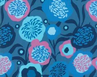 SALE Growing Beautiful by Crystal Manning for Moda - Peonies - Dark Blue - Cotton Quilt Fabric - BTHY Yard K