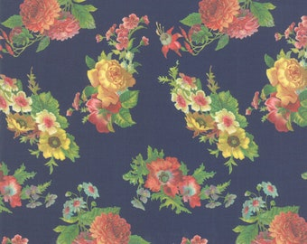 SALE Flea Market Mix by Cathe Holden for Moda - Floral - Navy - Dark Blue - Select a Size - Cotton Quilt Fabric