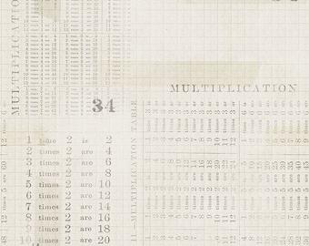 Monocrome by Tim Holtz Eclectic Elements for Free Spirit - Multiplication Table - Parchment - PWTH106 - Select a Size - Cotton Quilt Fabric