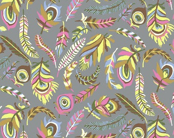 Kaffe Fassett Collective - Brandon Mably - August 2021 - Tickle My Fancy - Grey - PWBM080.GREY - Select a Size - 100% Cotton Quilt Fabric