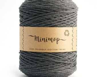 Minimop - Dark Grey   80/20 Recycled Cotton & Polyester Twisted Cord Twine Yarn by Lankava