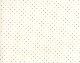Essential Dots Essential Yours by Moda Basics - White - Silver Dots - BTHY 1/2 Yard Cotton Quilt Fabric - 8654 155