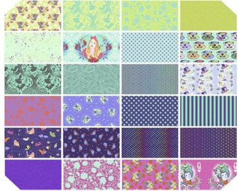OVERSTOCK Sale:  Curiouser & Curiouser Daydream FQ Fat Quarter Bundle by Tula Pink 24 prints - Cotton Quilt Fabric