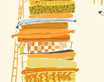 OOP Heather Ross Far Far Away Reprint Windham Fabrics - 39658-6 Princess and the Pea on White  - 1/2 yard cotton quilt fabric 921