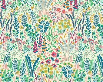SALE Solstice by Sally Kelly - Pastel on Cream Meadow - 51929-4 - FQ BTHY Yard - Windham Cotton Quilt Fabric 921