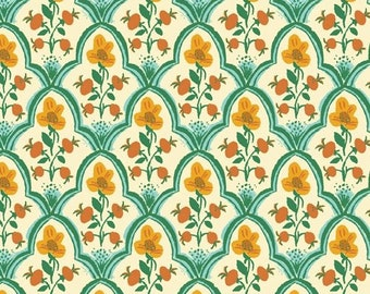Malibu by Heather Ross for Windham - Wood Block - Ocean - 52151-1 - Cotton Quilt Fabric FQ BTHY Yard 921
