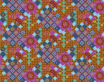 Love Always by Anna Maria Horner for Free Spirit - Postage Due - Amber - PWAH068 - Select a Size - Cotton Quilt Fabric