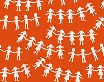 OOP Kinder by Heather Ross for Windham Fabrics - Paper Dolls - Orange Red 43485-2 - FQ BTHY Yard Cotton Quilt Fabric 921